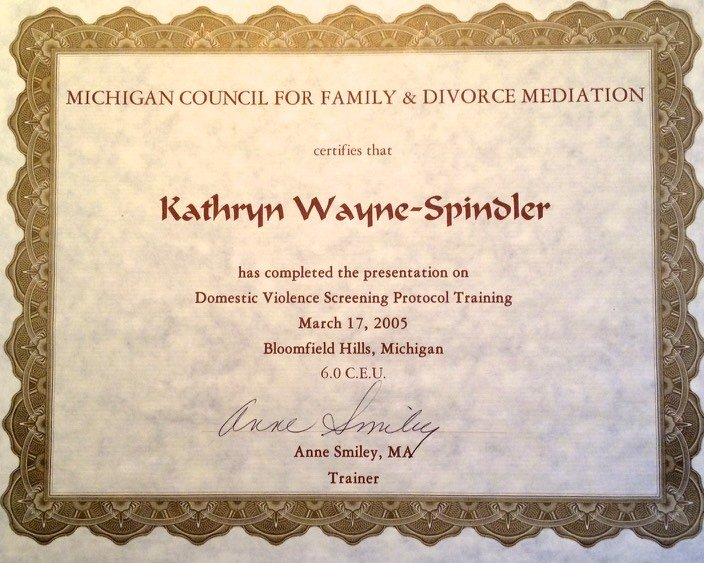 Domestic Violence Screening Protocol Training Certificate Kathryn