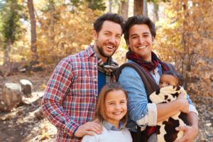 GLBT adoption family with two kids in forest