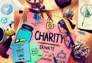 life gift of charity in pink, green and blue art
