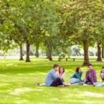 three girls and two guys discuss college in a field talking on the grass