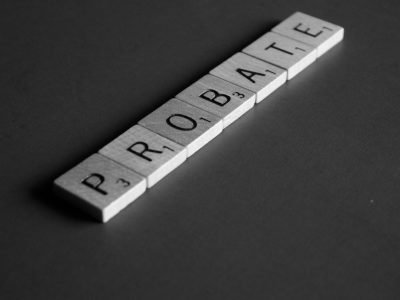 Probate spelled out in scrabble pieces
